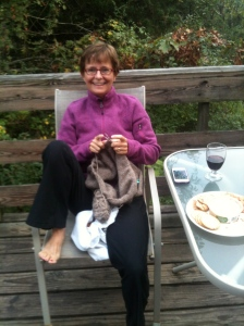 Sally knitting on the Deck!